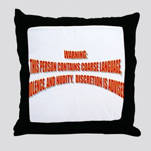 WARNING: Throw Pillow