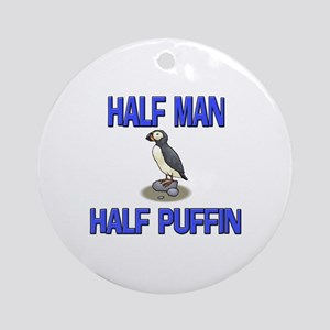 Half Man Half Puffin Ornament (Round)