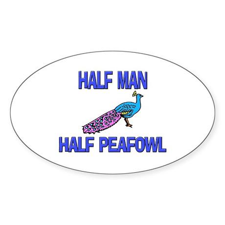 Half Man Half Peafowl Oval Sticker