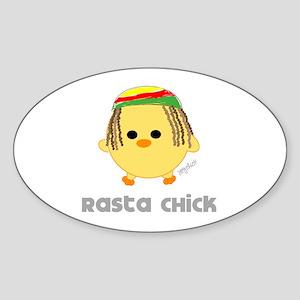 Rasta Chick Oval Sticker