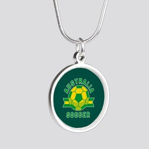 Australia Soccer Silver Round Necklace