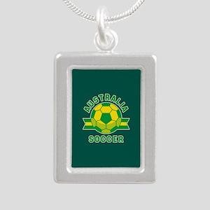 Australia Soccer Silver Portrait Necklace