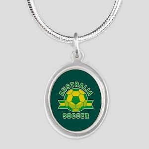 Australia Soccer Silver Oval Necklace