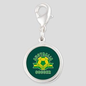 Australia Soccer Silver Round Charm