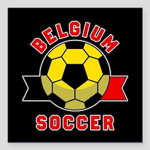 """Belgium Soccer Square Car Magnet 3"""" x 3"""""""