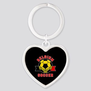 Belgium Soccer Heart Keychain