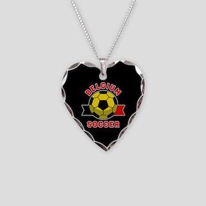 Belgium Soccer Necklace Heart Charm
