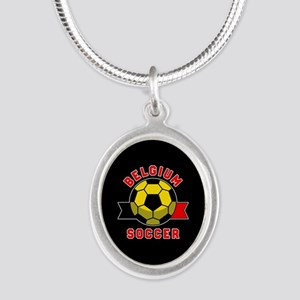 Belgium Soccer Silver Oval Necklace