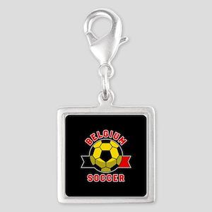 Belgium Soccer Silver Square Charm