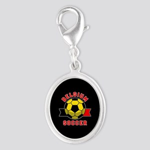 Belgium Soccer Silver Oval Charm