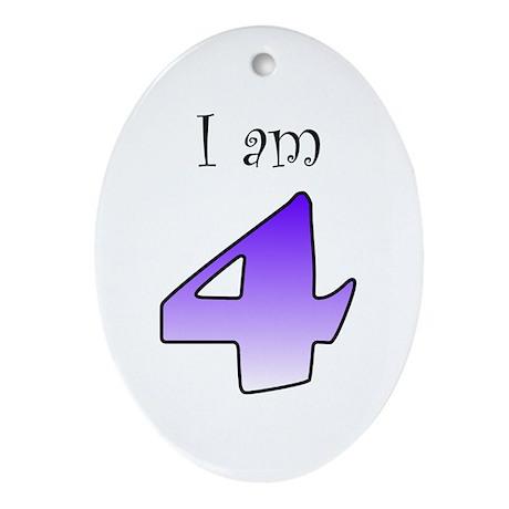 I am 4 (purple) Oval Ornament