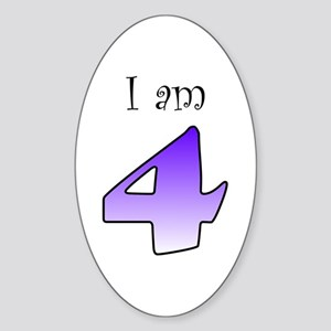 I am 4 (purple) Oval Sticker