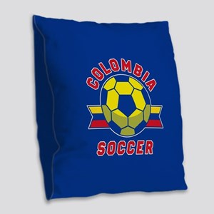 Colombia Soccer Burlap Throw Pillow