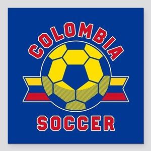 "Colombia Soccer Square Car Magnet 3"" x 3"""