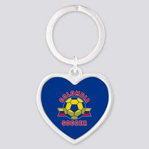 Colombia Soccer Heart Keychain