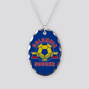Colombia Soccer Necklace Oval Charm
