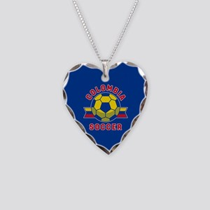Colombia Soccer Necklace Heart Charm