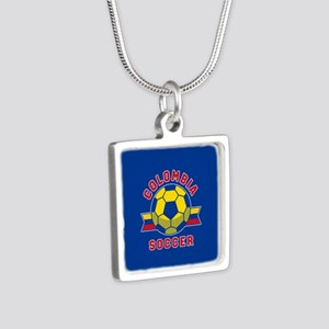 Colombia Soccer Silver Square Necklace