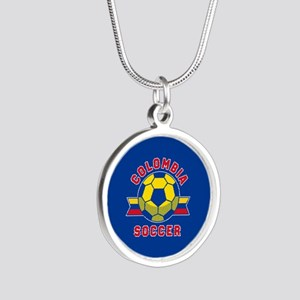 Colombia Soccer Silver Round Necklace