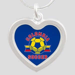 Colombia Soccer Silver Heart Necklace