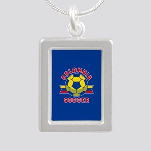 Colombia Soccer Silver Portrait Necklace