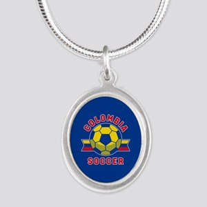 Colombia Soccer Silver Oval Necklace