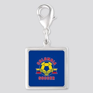 Colombia Soccer Silver Square Charm