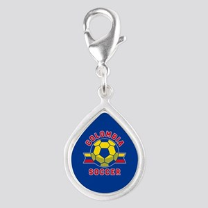 Colombia Soccer Silver Teardrop Charm