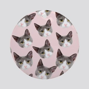 girly kitty cat pattern Round Ornament