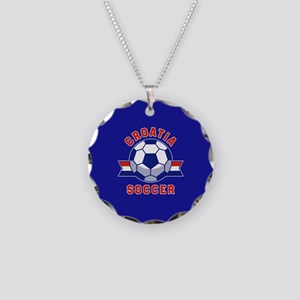 Croatia Soccer Necklace Circle Charm