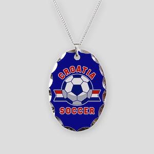 Croatia Soccer Necklace Oval Charm