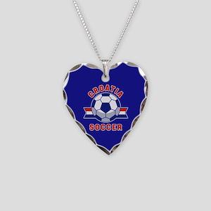 Croatia Soccer Necklace Heart Charm