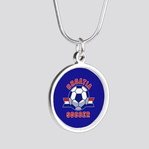 Croatia Soccer Silver Round Necklace