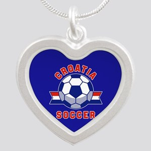 Croatia Soccer Silver Heart Necklace