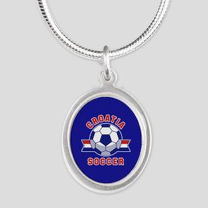 Croatia Soccer Silver Oval Necklace