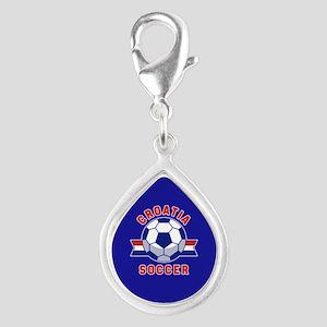 Croatia Soccer Silver Teardrop Charm