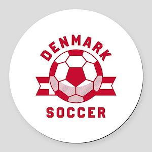 Denmark Soccer Round Car Magnet