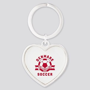 Denmark Soccer Heart Keychain