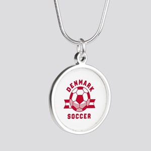 Denmark Soccer Silver Round Necklace