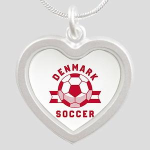 Denmark Soccer Silver Heart Necklace