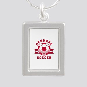 Denmark Soccer Silver Portrait Necklace