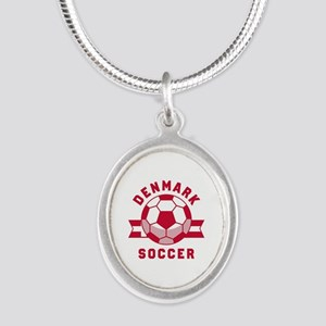 Denmark Soccer Silver Oval Necklace