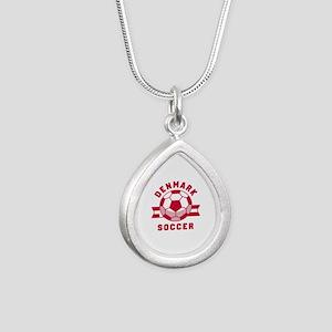 Denmark Soccer Silver Teardrop Necklace