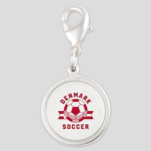 Denmark Soccer Silver Round Charm