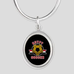 Egypt Soccer Silver Oval Necklace