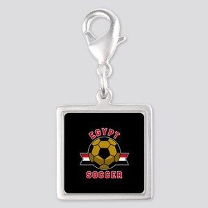 Egypt Soccer Silver Square Charm