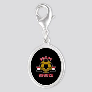 Egypt Soccer Silver Oval Charm