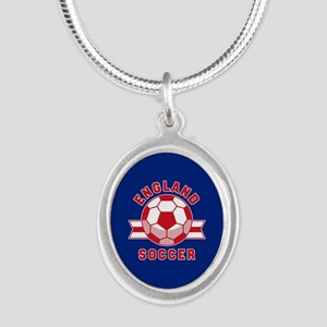 England Soccer Silver Oval Necklace