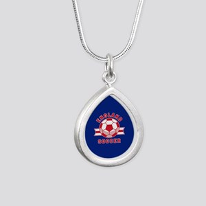 England Soccer Silver Teardrop Necklace