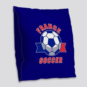 France Soccer Burlap Throw Pillow